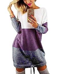 Minetom Automne Hiver Femme Pull Robe Col Rond Manche Longue Sweater Mini Tricot Robe Pullover Blouse