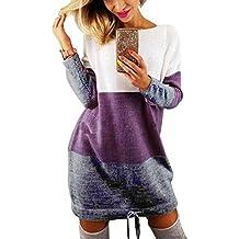 428d1b87f237 Minetom Automne Hiver Femme Pull Robe Col Rond Manche Longue Sweater Mini  Tricot Robe Pullover Blouse