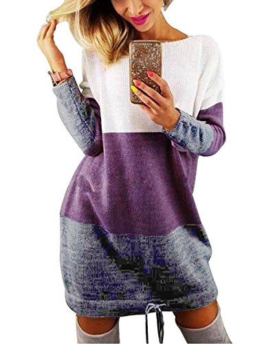 Minetom Damen Rundhals Strickkleid Stricksweat Frauen Stricken Langarm Lose Pulloverkleid Casual Mini Kleid Sweatkleid Violett DE 38 (Cocktail Knit Sleeveless Mini)