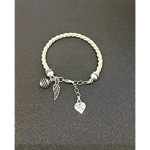 Armband in Beige gewebte Seide mit Engel Flügel und einer Perle, Parfüm, Engel Flügel, Trend