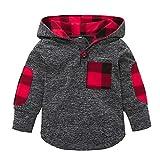Beikoard Weihnachten Kleidung,Jungen Mädchen Plaid Mit Kapuze Reißverschluss Tops Sweatshirt Warme Mantel Outfits Dünner Mantel (Grau-2, 100)