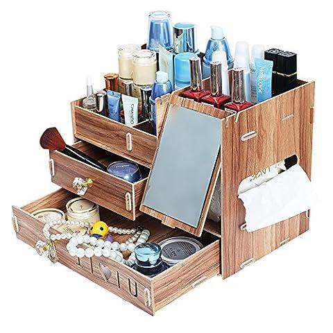 PhantomSky Kreatives aus Holz Verbesserte Version DIY-Aufbewahrungsbox - Perfekte 3 Schichten Desktop-Box mit Spiegel und (Cancelleria Registrato)