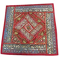 Mogul Interior Pillow Toss Vintage Sequin Embroidered Patchwork Red/Blue Tapestry Indian Art 16x16