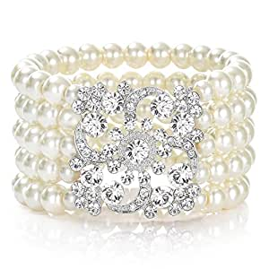 JaosWish 1920s Pearl Bracelet Great Gatsby Bangle Flapper Girl Accessories for Fancy Dress Costume Themed Party Wedding