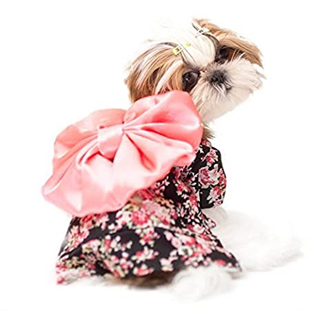 SELMAI Costumes for Small Dog Halloween Kimono Floral Pet Puppy