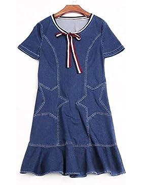 nuevo vestido de mezclilla de moda falda de cola de pescado 2017 del verano de gama alta falda vaquera , blue...