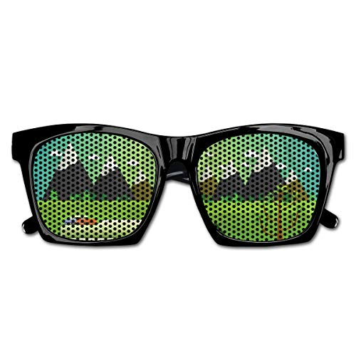 EELKKO Mesh Sunglasses Sports Polarized, Family Caravan with Bicycle and Balloons Outdoors Mountain Landscape Cartoon,Fun Props Party Favors Gift Unisex