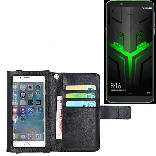 K-S-Trade Für Xiaomi Blackshark Helo Schutz Hülle Case mit Displayschutz/Schutzfolie Flip Cover Wallet case Etui Hülle für Xiaomi Blackshark Helo schwarz