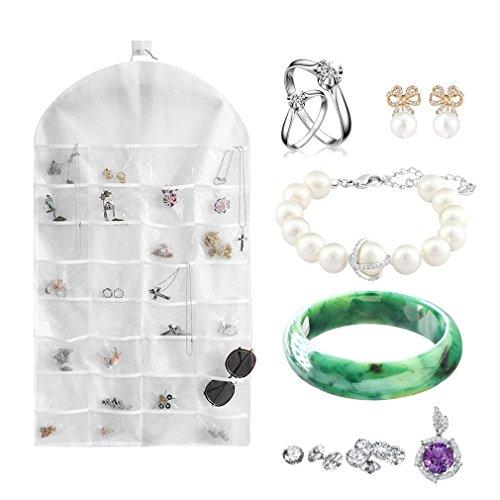 FairytaleMM 32 Slots Doppelseitige Schmuck Hanging Organizer Ohrringe Halskette Halter Tasche