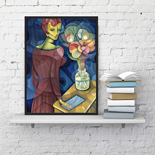 ACYKM Leinwand dekorative Malerei Kubismus Frau Porträt Wandkunst Leinwand Malerei Poster Designer Wandbilder Drucke Für Galerie Wanddekoration-50x70cm