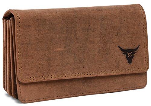 KRYPT 'Daisey the Dear' - Geräumiger Geldbeutel aus echtem Büffel-Leder mit RFID-Blocker - RusticBrown
