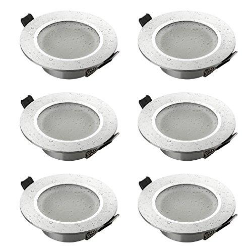 Sebson® 6X Foco empotrable Techo, para baño (IP44), Redondo, Mate, Aluminio, Plata,...