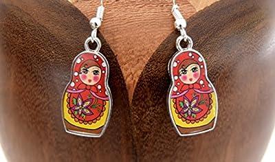 Boucles d'oreilles Matriochka rouge , clips matriochka rouge