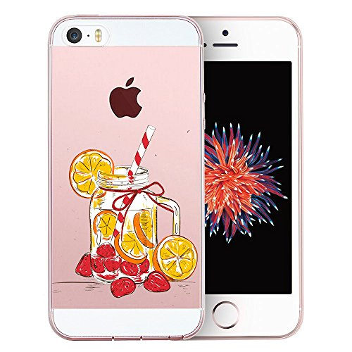 Custodia iPhone SE 5S Cover, JEPER Flessibile Ultra Thin Slim Crystal Clear Trasparente Premium TPU Silicone Gel Assorbimento Urto Anti-Scratch Case per Apple iPhone 5 03