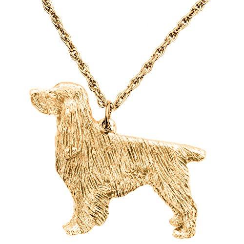 English Springer Spaniel Hergestellt in U.K. Kunstvolle Hunde- Anhänger Sammlung (22 Karat Vergoldung / gold plattiert) (Hund-figur Springer Spaniel)