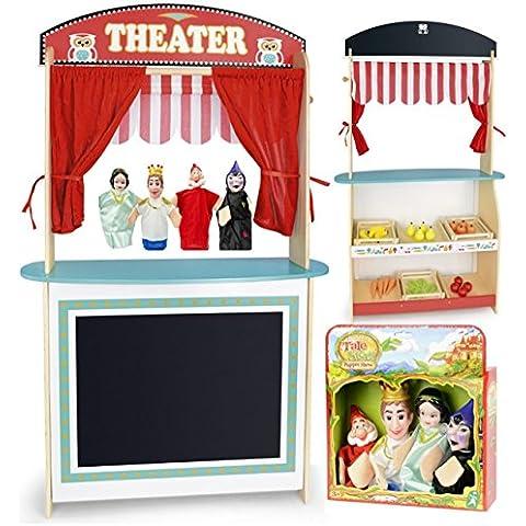 Juguete 3en1: teatro y mercado + alimentacion todos de madera + 4 marionetas