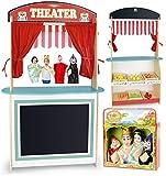 Juguete 3en1: teatro y mercado + alimentacion todos de madera + 4 marionetas - Leomark - amazon.es