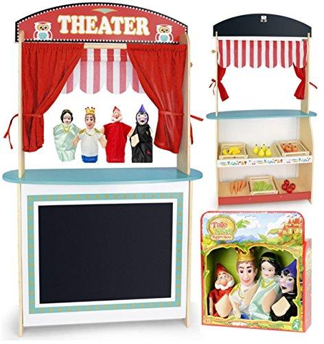 Spielzeug 2 in 1 Puppentheater und Supermarkt Aus Holz Plus Puppen 4 Stück Hölzernes Spielzeug Show Spaß Im Laden Puppentheater mit Bühne und Vorhang, Leichter Aufbau