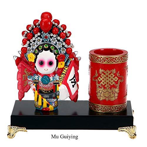 Peking-stift (AMYBDS Statue Dekor Souvenir Geschenk Und Kunst Ornament Weihnachten Geschenk China Peking Oper Figurine Stift Halter,C)