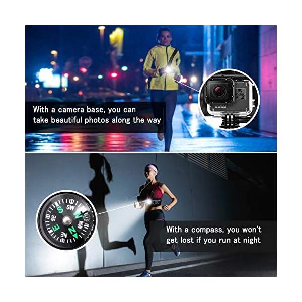 Running Light Ricaricabile USB, SGODDE Luce Corsa 3 Modi 500 LM Impermeabile con Bussola per GoPro, Leggero, Comodo e… 5 spesavip