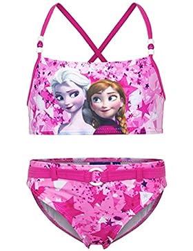 Disney Frozen - Costume 2 Pezzi Bikini con Cinta e Perline Full Print Mare Piscina - Elsa e Anna - Bambina - Novità...