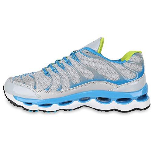 Herren Laufschuhe Sneakers Runners Sportschuhe Lack Grau Blau