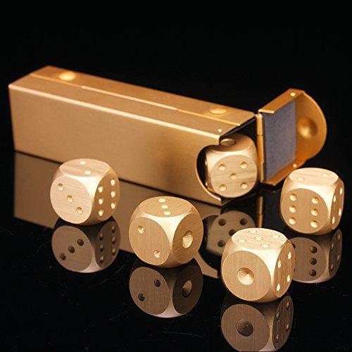 LZWIN 5 Stücke Würfeln Sammlung Set Präzision Aluminiumlegierung Gold Farbe Peststoffphase Würfel Männer Geschenk - Sammlung 5 Stück Set