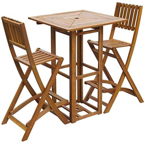 SSITG 3-tlg. Barset Gartenbar Sitzgruppe Sitzgarnitur Gartenmöbel Akazienholz