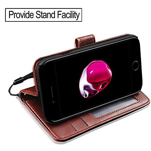 IPhone 7 Plus Case Cover - GBOS® Schwarz antiken Reiche Leder Stand Wallet Flip Case Cover Brown