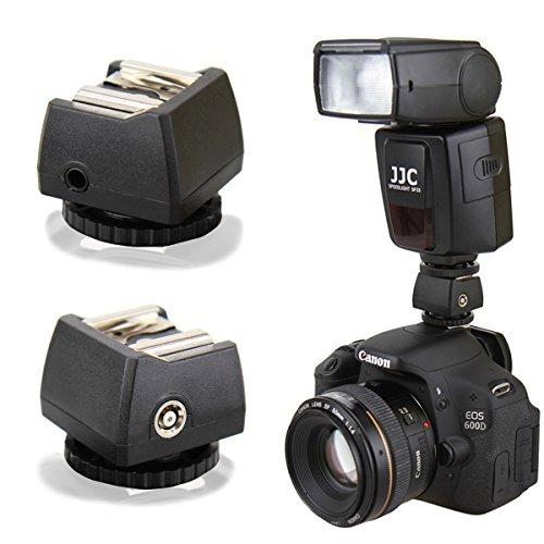 Enjoyyourcamera JSC-8 Blitzadapter zum Anschließen von (Studio-)Blitzen per Kabel an Standard ISO Kamerablitzschuh - mit PC-Synchrobuchse und 3,5mm Klinkenbuchse (made by JJC)
