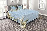 Abakuhaus Muscheln Tagesdecke Set, Maritime Beach Shell, Set mit Kissenbezügen farbfester Digitaldruck, für Doppelbetten 264 x 220 cm, Babyblau Elfenbein