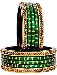 Dulari Stone Embellished Lac Round Ethnic Bangles For Women (Set Of 10 Bangles) Color Available