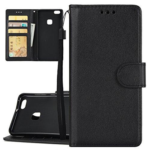 Custodia per Huawei P10 Lite, ISAKEN Flip Cover per Huawei P10 Lite con Strap, Elegante Bookstyle PU Pelle Case Cover Protettiva Flip Portafoglio Custodia Protezione Caso con Supporto di Stand / Carte Nero