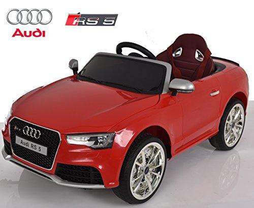 Audi RS5 de Babycoches, licencia oficial, 12 V, mando parental, neumaticos de caucho, asiento ergonomico para mayor confort, COLOR ROJO
