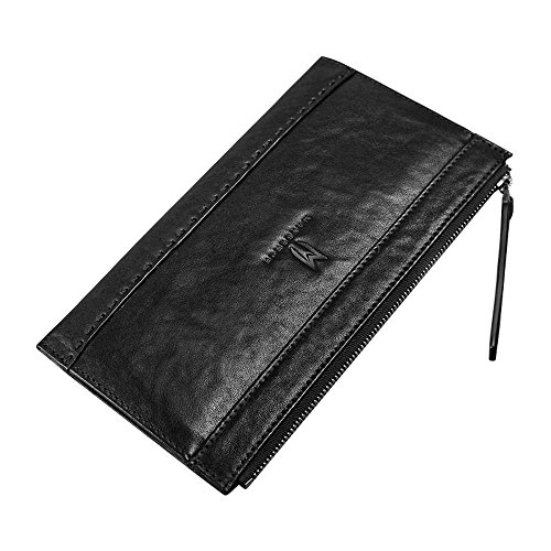 Penao Herren Leder Geldbörse, lässige Zipper Wallet, Kopf Schicht Kuhfell schlanke Brieftaschen