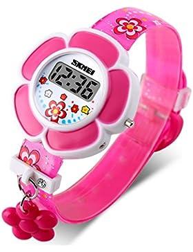 HenMerry Kinder Digitaluhr Armbanduhr Kinderuhr Niedlich Karikatur Drucken Blumen Ornamente Mädchen Uhr Schüleruhr...