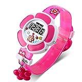 SKMEI, orologio digitale da bambina, con simpatica stampa in stile cartone animato e un piccolo ciondolo a forma di fiore Rose Red