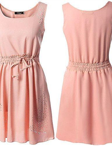 GSP-Combinaisons Aux femmes Sans Manches Vintage/Sexy/Plage/Décontracté/Mignon/Soirée/Grandes Tailles Mousseline de soie Moyen Micro-élastique pink-m
