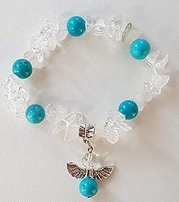 Bracelet fille 10-14 ans, cristal de roche et turquoise