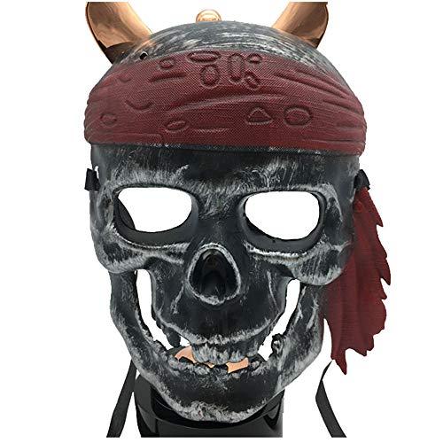 (Halloween Scary Maske Cos Cosplay Piraten Maske Horror Vollgesichtsmaske Kinder Männer Und Frauen (Color : Ancient silver))