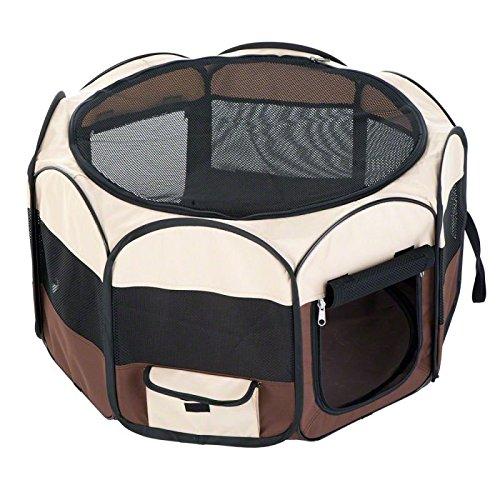 Wangado - Recinto da interno o esterno, in resistente nylon. Facile da montare e smontare. Pratica borsa! Per piccoli animali, ma anche recinto per cani cuccioli e gattini. Fondo in nylon semplice da pulire. Medio L 92 x P 92 x H 49 cm