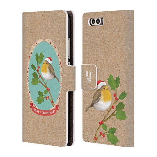 Head Case Designs Rotkelchen Weihnachtszeit Brieftasche Handyhülle aus Leder für Huawei P10