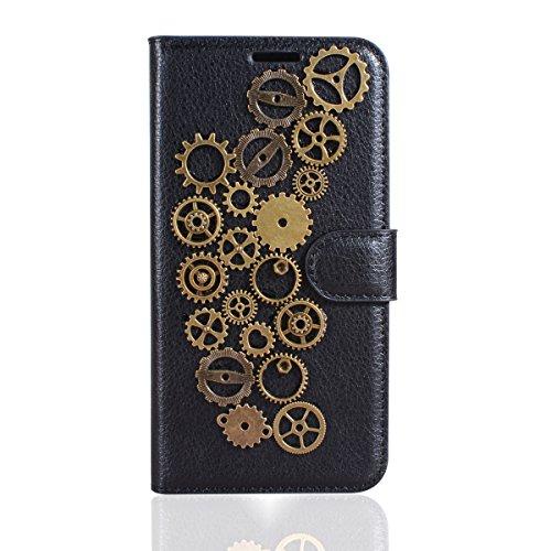 Gift_Source BlackBerry Priv Hülle, [Retro Jahresring] PU Leder Hülle Schutzhülle Brieftasche Handyhülle Faltbare mit Standfunktion Flip Case Cover für BlackBerry PRIV (5.4
