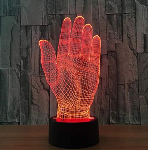 Joplc Palm Hand 3D LED Nachtlicht Acryl Lampe Touch Schalter Neuheit Beleuchtung USB Lampe Tischlampe als Halloween Party Büro Dekor Geschenk