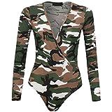 (FF11) Damen ladieswrap über Lange Ärmel Plunge V Hals Print Stretch Body Gymnastikanzug Gr. Medium, Armee Camouflage