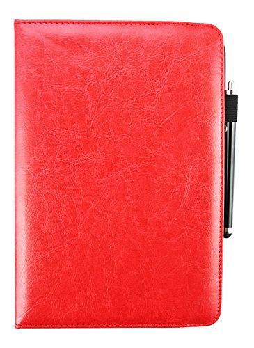 Emartbuy Samsung Galaxy Tab E 8.0 3G 4G LTE 8 Pollice Tablet Universale (7-8 Pollice) Rosso PU Pelle 360° Rotante Folio Wallet Custodia Case Cover + Rosso Stilo