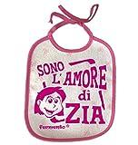 Bavaglino SONO L'AMORE DI ZIA - simpatica bavetta 100% cotone Fermento Italia (Fuxia)