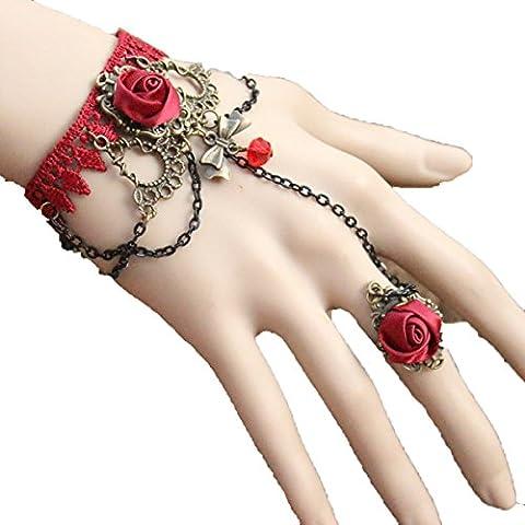 Frau Spitze Spitze Armband Handarbeit Ein Bogen Rote Rose übertrieben Schmuck,Red-L