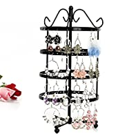 XWB 4 Tiers Metal Rotating Earring Holder Necklace Organizer Stand Jewelry Stand Display Rack Towers (Black)