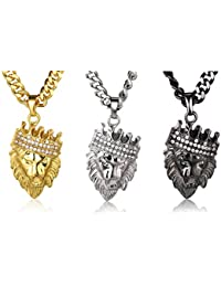 """Halukakah """"KINGS LANDING"""" Men's 18k Real Gold Plated Crown Lion Pendant Necklace Set with FREE Chain"""